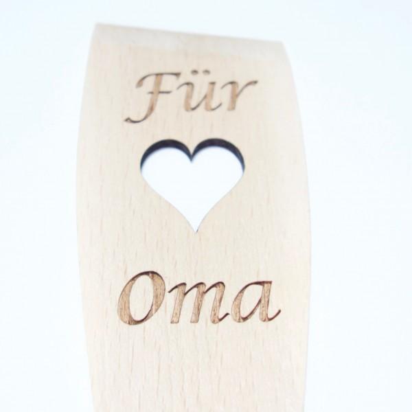 """Pfannenwender Oma mit Herz und Gravur """"Für Oma"""""""